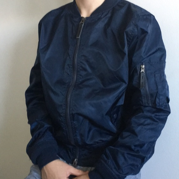 1afe3454 Men's navy blue bomber jacket